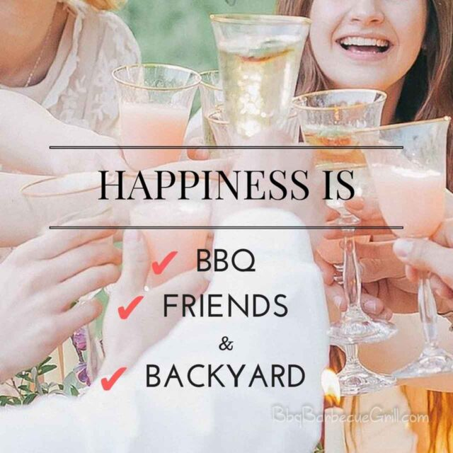 Happiness is BBQ, friends & backyard.