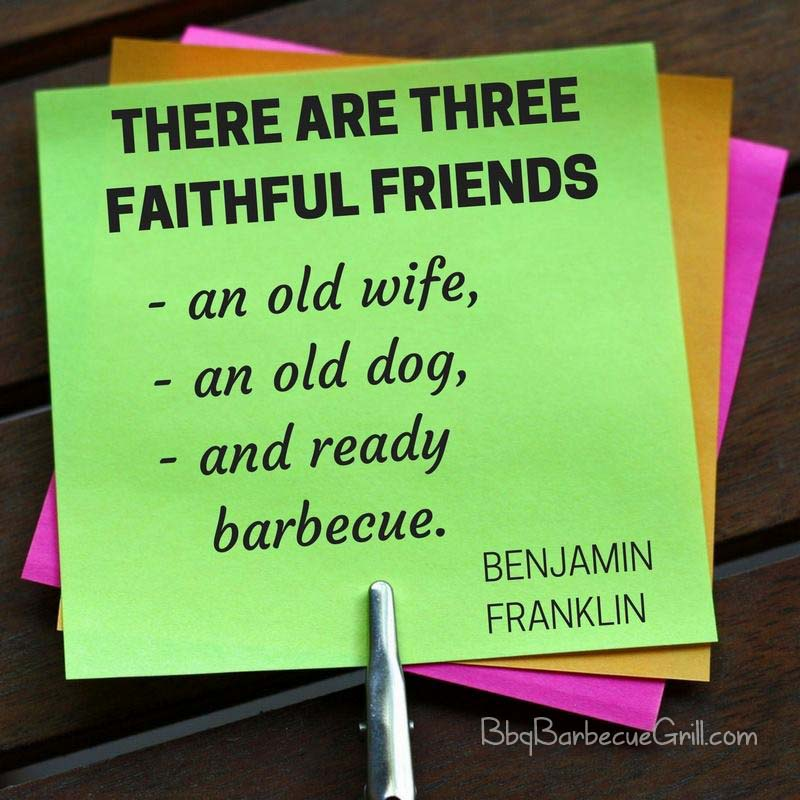 There are three great friends an old wife, an old dog, and ready barbecue. - Benjamin Franklin